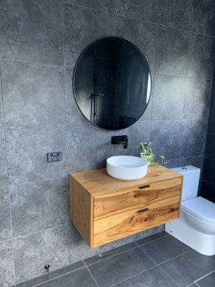 Custom Bathroom Vanity custom made using Australian Hardwood Timber by joinery Buywood Furniture Brisbane