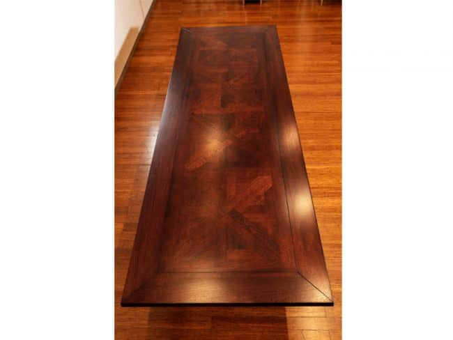Burbank Dining Table custom made with parquetry inlay by Buywood Furniture in our Alderley Workshop Brisbane
