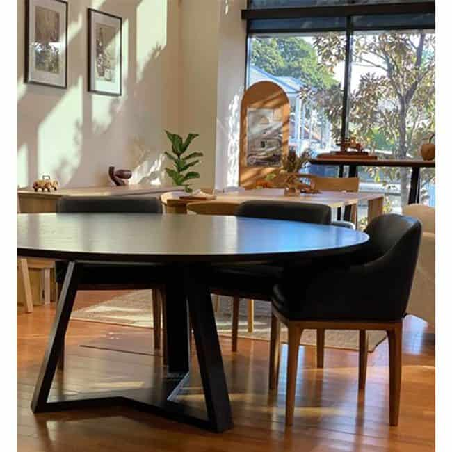 Burke Timber Dining Table custom made and designed by Buywood Furniture's joinery in Brisbane