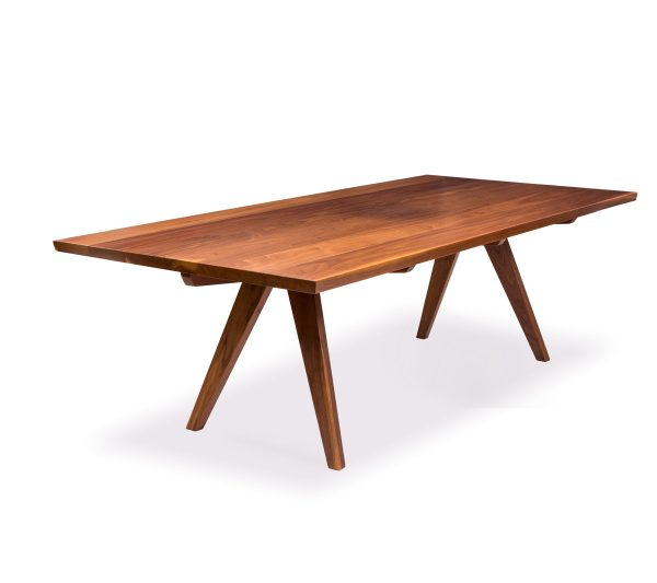 Lachlan Dining Table custom made by Buywood Furniture, Brisbane has subtle angle in the legs match well with the impressive table top, making it almost look like it's floating in mid air.