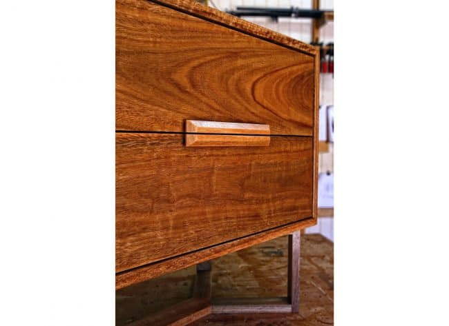Zen Bedside Table in Spotted Gum custom made and designed by joinery Buywood Furniture.