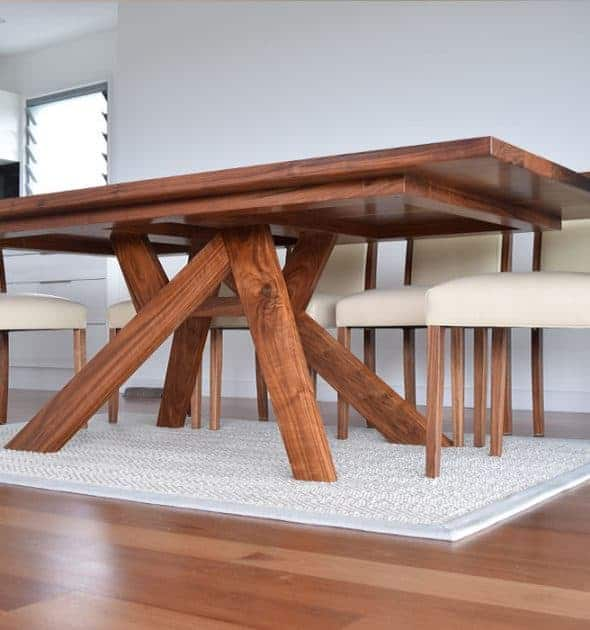 Macklin Timber Dining Table custom made and designed by Buywood Furniture's joinery in Brisbane